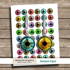 Images yeux imprimable cercle humaines pour fabrication de bijoux, boucles d'oreilles, cabochons.  ■ les Images de cercle en 12 mm 16 mm 18 mm 20 mm et 1 pouce, chaque taille sur une feuille de collage distincts.  ■ Feuille de Collage numérique format 8,5 « x 11 » - format A4 haute