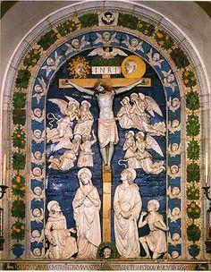 LA CROCIFISSIONE DI GESU',  di Andrea Della Robbia. Cappella delle stimmate, altare maggiore Donata dalla famiglia Alessandri  di Firenze.