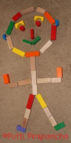 Play and Learn with Blocks ~ eyes for Mat Man … Body Preschool, Preschool Writing, Preschool Crafts, Block Center, Block Area, Mat Man, All About Me Preschool, Handwriting Activities, Pre K Activities