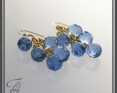 Swiss Blue Earrings, Sky Blue Earrings, Blue Quartz Earrings, Dangle Earrings, Gold Earrings, Cascade Earrings, Handmade Earrings