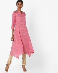 e24277b1a57 Buy AJIO Women Pink Panelled Dobby-Weave Kurta | AJIO Dobby Weave, Kurta  Style