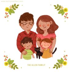 What a great Christmas card idea! Custom Family Portrait couple portrait with or by kathrynselbert, $35.00