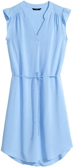 H&M - Dress with Butterfly Sleeves - Light blue - Ladies