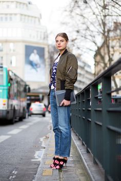 Khaki Bomber jackets at Paris Fashion Week by The Urban Spotter