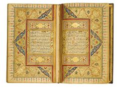 Opening pages of the Qur'an: Surat 1 Fatiha (Opening) on right-hand side is said in every stanza of every prayer, & is likened to David's Psalm of the Christian Bible . On left: Surat 2 B. Medieval Manuscript, Illuminated Manuscript, Islamic World, Islamic Art, African Symbols, Quran Recitation, Quran In English, Arabic Calligraphy Art, Iranian Art