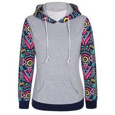 Yoins  Grey Random Geometric Pattern Sleeves Hooded Sweatshirt (1,650 INR) ❤ liked on Polyvore featuring tops, hoodies, black, sweatshirt hoodies, hooded pullover, pattern hoodie, grey long sleeve top and hooded sweatshirt