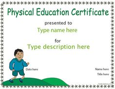 Sports Certificate - Physical Education Certificate |  CertificateStreet.com