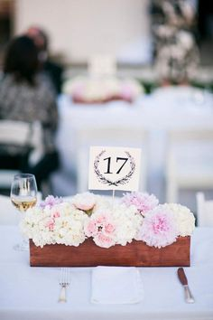 Decor Centerpieces Blush flowerbox wooden box peonies pale pink table number custom paper outdoor wedding low centerpiece