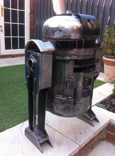 R2-D2 Log burner up cycled from an old gas bottle by Alex Dodson