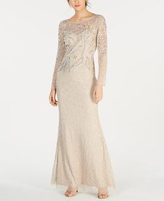 Adrianna Papell's petite column gown sparkles with every step designed with an embellished mesh overlay. Daytime Dresses, Formal Dresses, Wedding Dresses, Bride Dresses, Maxi Dresses, Evening Dresses, Mothers Dresses, Wedding Attire, Fashion Dresses