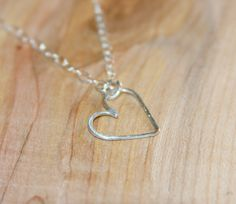 Sterling Silver HEART Necklace, Floating Heart Necklace Pendant, Silver Heart Pendant. Delicate Heart Necklace. Valentine Gift Gifts for Her by BirchBarkDesign on Etsy