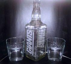 Etched New York Giants Jack Daniels Bottle Set | eBay