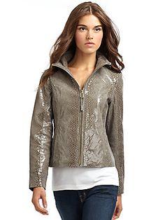 Via Spiga Snakeskin-Embossed Leather Jacket