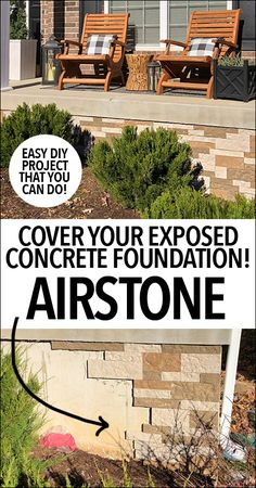 house ideas Do you have an exposed foundation? Airstone Concrete Foundation is a great coverup. Amazing use of Airstone Faux Stone Veneer to add great curb appeal to the exterior your home