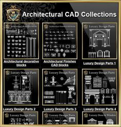 【Architectural CAD Drawings Bundle】(Best Collections!!) All CAD .DWG files are compatible back to AutoCAD 2000.Over 20000+ CAD drawings are available to purchase and download !!Spend more time designing, and less time drawing!Best Collections for architects,interior designer and landscape designers. Get Total 79 Collections for only $99! Included All the followings collections:Architectural decorative blocks, Architectural Finishes CAD blocks, Luxury Design Parts 1~6,Luxury Door & Win...