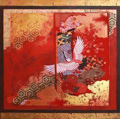 """ At the beauty spot  the cranes alight  on litter""  Kobayashi Issa (1763~1827)  Mixed Media and Obi on Canvas   84cm x 84cm  2014  Nerina Lascelles  Tumblr"