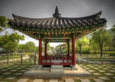 Incheon (near Seoul), South Korea. traditional Korean Gardens which had waterfalls, flowers and pagoda's like this one.