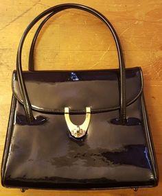 Vintage, Black, Patent Leather, Organizer, Baguette Handbag, 1950s #Unbranded…