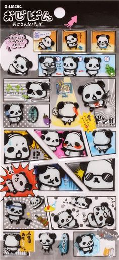 funny hard 3D stickers with panda bears Q-Lia Japan