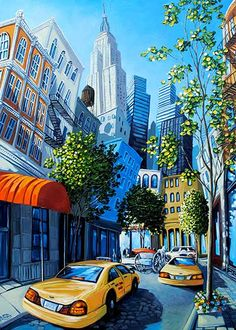 """Soho Stroll"", Acrylic on Board, 42x30"" by Miguel Freitas at Crescent Hill Gallery in Mississauga, ON"