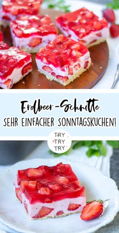 Die Erdbeer-Zeit feiern mit der leckersten Erdbeer-Schnitte Celebrate the strawberry season with the most delicious strawberry slices / cake recipe / sheet cake / simple recipe / Sunday cake Easy Baking For Kids, Baking Recipes For Kids, Cooking Recipes, Cake Recipes, Dessert Recipes, Breakfast Recipes, Dinner Recipes, Healthy Sweet Treats, Food Cakes