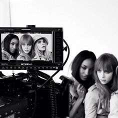 On set at the Burberry Beauty campaign shoot with Jourdan Dunn, Edie Campbell and Cara Delevingne - @burberry- #webstagram