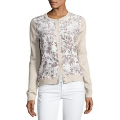 Neiman Marcus Cashmere Collection Floral Silk-Front Lurex& Bomber... (391,680 KRW) ❤ liked on Polyvore featuring tops, cardigans, white, floral print cardigan, white top, j.crew cardigan, white long sleeve top and long sleeve cardigan