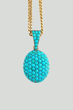 Antique 9kt and Pave Turquoise Locket c. 1860-1880