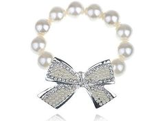 Man-Made Pearl Beads Silver Toned Ribbon Bow Clear Crystal Rhinestone Bracelet Alilang. $8.99