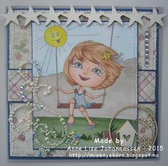 Mine Prosjekter: Girl on a swing Digital Stamps, Homemade Cards, Paper Crafting, Card Making, Create, Handmade, Diy, Color, Paper Engineering