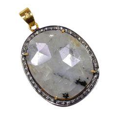 Silvestoo India Wonder Sapphire & Cubic Zircon Gemstone 925 Sterling Silver Vermail Pendant PG-100704   https://www.amazon.co.uk/dp/B06XXGLRW4