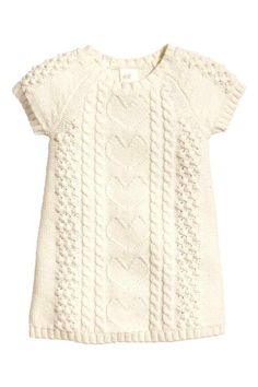 Natural white pattern-knit dress, would look cute with tights Girls Knitted Dress, Knit Baby Dress, Knit Sweater Dress, Smock Dress, Smocked Baby Dresses, Baby Girl Dresses, Baby Girl Fashion, Fashion Kids, Brei Baby