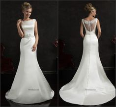 Bright 2015 Spring Mermaid Wedding Dresses White Satin Beaded Sash Sheer Zip Back Simple Cheap Bridal Gowns Designer By Amelia Sposa Online with $129.06/Piece on Hjklp88's Store | DHgate.com