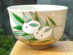 【京焼清水焼】抹茶茶碗雪うさぎ