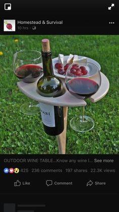 Outdoor Wine Table/ Folding Wine Table/ Wine Lover Gift/ Personalized/ Father's Day/Mother's Day/ Outdoor Entertaining/