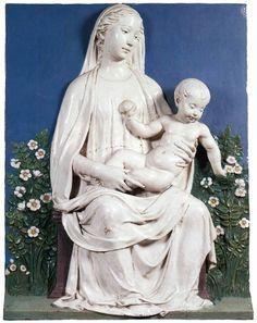 Luca della Robbia c.  1450-1455 Madonna in un giardino di rose (Firenze, Museo del Bargello)