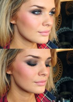 brown smokey eye, great blush
