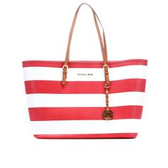 2660f8bb07f7 Maple and West MICHAEL Michael Kors Striped Medium Travel Tote - Red White  Travel Tote