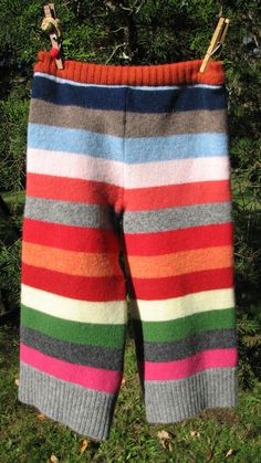 Little kid leggings made from an old sweater...smart!