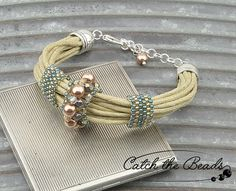 Beige and Blue String Bracelet with Peyote Stitch by CatchTheBeads