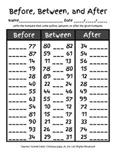Numerical Order {Before, Between, After} by Teacher Turned Tutor Math Addition Worksheets, English Worksheets For Kindergarten, Math Coloring Worksheets, 3rd Grade Math Worksheets, Kindergarten Worksheets, Lkg Worksheets, Teaching Math, Teaching Geography, Homeschool Math