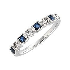 Alternating shapes and stones this fun sapphire and diamond eternity band is stunning! Ring Name: Sissi 14 Karat White Gold Accent Stones Trade Name: Diamonds Carat Weight: .20 carats natural conflict