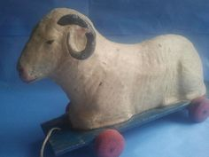 1920´S Papermache Lying Sheep O Wooden Base Pull Toy RARE German | eBay  sold   307.80