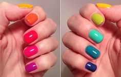 Hell yes rainbow nails! (Killer Colours) : From purple pinkie to blue pinkie: Essie – Dj Play That Song Essie – Bottle Service Idun Minerals – Korall Essie – Roarrrrange China Glaze – Sun Worshiper Nordic Cap – Essie – The More The Merrie Hell rainbow Bright Nail Polish, Nails Polish, Colorful Nails, Multicolored Nails, Cute Nails, Pretty Nails, My Nails, Simple Nail Art Designs, Easy Nail Art