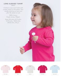 Children's crew neck t-shirt with popper detail on shoulders. Twin needle stitching on hem and cuffs. Rib detail at neck. Pale Pink, Neck T Shirt, Twins, Stitching, Cuffs, Crew Neck, Detail, Shoulder, Long Sleeve