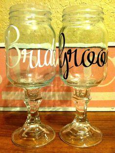 CUSTOM LISTING Bride Groom Redneck Wine glasses by AVAandELOISE, $24.95