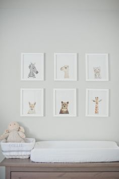 Sharon Montrose prints, great gallery wall of baby animals above the changing table.
