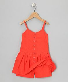 Just bought for K - Look at this #zulilyfind! Mango Tango Button-Up Romper - Infant, Toddler & Girls #zulilyfinds