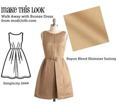 Make This Look: Walk Away with Bronze Dress (using Simplicity S2444)