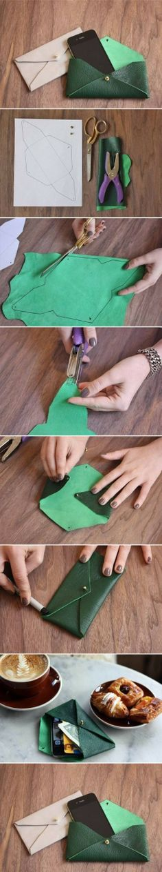 How to make Leather Envelope Case step by step DIY tutorial